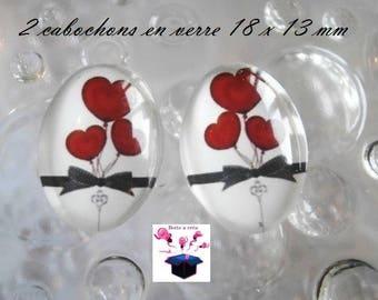 2 cabochons glass 18mm x 13mm puffed heart theme