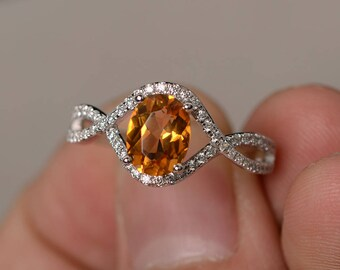 Genuine Citrnie Ring Sterling Silver Oval Cut Yellow Crystal Ring Anniversary Gift for Her