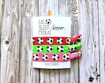 Soccer Gifts | Eat Sleep Soccer Repeat Hair Ties | Soccer Hair Ties | Soccer Mom | #soccerlife | Soccer Hair Tie Favors | Soccer for Girls