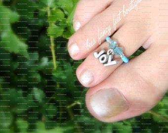 Toe Ring, Statement Toe Ring, Statement Ring, Aquamarine Crystals, Blue Beads, Joy Charm Bead, Toe Ring, Ring, Stretch Bead Toe Ring