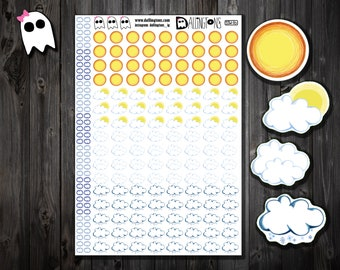 SS-28 /// Winter Weather Stickers - Snow Day Stickers - Sunny Stickers - Cloudy Stickers - Partly Sunny Stickers - Winter Stickers