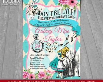 Alice in Wonderland Baby Shower Invitation - Alice in Wonderland Baby shower tea party Invite - Mad Hatter Baby Shower Printed invitation