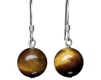 10mm Genuine Tigers Eye Gemstone Bead / Ball / Sphere 925 Sterling Silver Drop / Dangle Earrings Pair