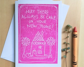 House Cake Card, handprinted on recycled card. New home, home sweet home.