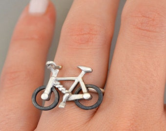 Bicycle Fashion Ring made of Sterling Silver 925 Cool Geek Rings Statement Jewelry Bicycle Lover Fans Silver Bicyxle Jewellery