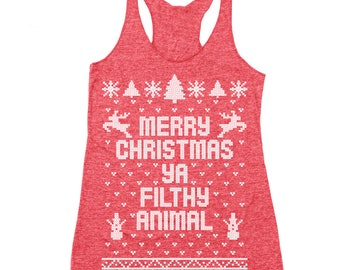 Merry Christmas Ya Filthy Animal Ugly Sweater Contest Retro Cute Racer Back Tri-Blend Tank Top DB0002
