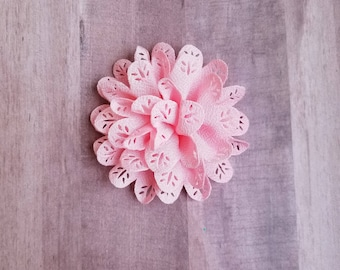 "4"" Pink Eyelet Flower, large flower puff, Pink fabric flower, Eyelet flower, DIY supplies, Headband flower, Flower Hair Clip, Pink flower"