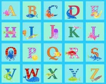 "180427 Aqua Alpha Blocks 24"" panel with 26 letters"