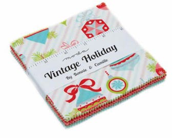 JUST IN Vintage Holiday Charm Pack  by Bonnie & Camille of Moda, 42-5 Precut Squares, 55160PP