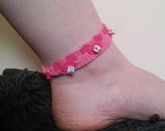 Pink Mickey Mouse Beaded Dream Disney Hand Made Friendship Button Loop Anklet