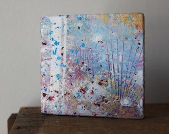 Abstract Seashell Ocean Mixed Media Painting