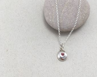 Garnet Sterling Silver Pebble Necklace, British Silver Pendant, Handmade Silver Necklace, Recycled Silver Pendant, January Birthstone