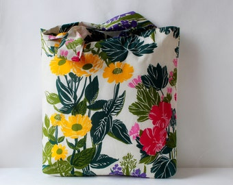 Large Floral Tote Bag, 100% Cotton Bag, Grocery Reusable Bag, Eco-friendly, Natural Beach Bag, Shopping Bag