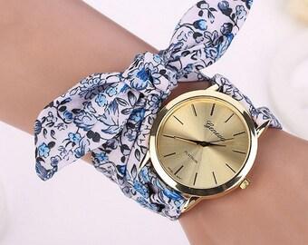Wristwatch liberty blue flowers
