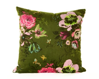 Velvet Floral Fiona Cushion Cover,Pillow cover olive green