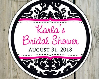Round Custom Damask Favor Labels / Stickers - Black & White Damask - Personalized Damask Wedding Favor Stickers / Shower Labels / Birthday