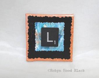 Fancy Scrabble Tile Letter L and Painted Verdigris Magnet 2 X 2