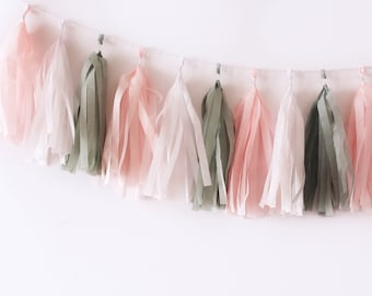 Blush and Grey Gray Tassel Garland   Tassel Banner   Blush Party Decor   Bridal Shower Party Decor   Baby Shower Party Decor   Pale Pink