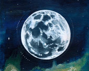 Full Moon Print Art Poster 11x17