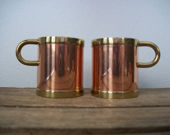 2 Beucler Copper & Brass Mugs Cups Glass Holders for Irish Coffee Tea Hot Beverages (No Glasses) Holders ONLY