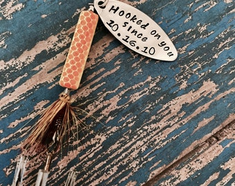 TODAY show feature Hooked on You Fishing Lure Hand Stamped with Date Option - Valentine's - Engagement - Wedding - Boyfriend Gift - Engraved