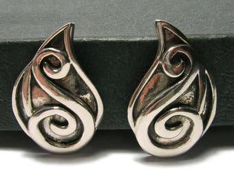 1950s Pewter Celtic Ear Climbers - Clip Ons - Vintage Earrings - Celtic Scroll