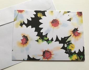 Flower Card; White Daisies; blank card