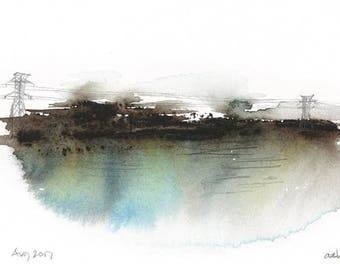 Blue and Wires: Landscape Watercolor Print - Giclee
