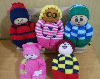 Huggintons - Tell them about your day, worry doll, companion, friend, sock doll