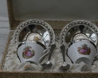 Boxed Set of Teacups, Saucers and Teaspoons