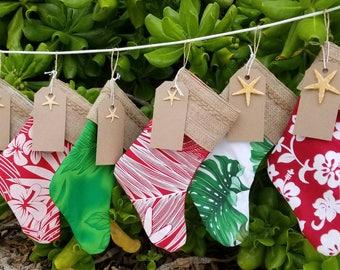 Tropical Hawaiian print Christmas stockings Set of 6