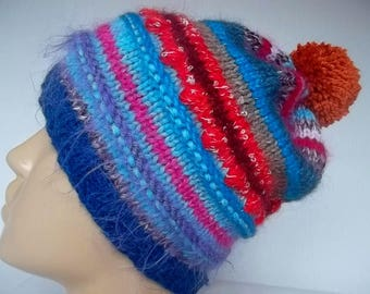 HAND KNITTED HAT Women Ready To Ship Accessories Hats Winter Beanie Pompoms Crochet Warm Romantic Feminine Handmade Gift Cabled Pussy Visor