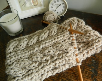 Hand Made Chunky Knit Cable Scarf
