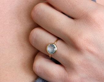 Blue Topaz Ring, Natural Gemstone, 14K Solid Gold Ring, Gemstone Ring, Blue Topaz Gold Ring, December Birthstone Ring, Ring for Women, 0228