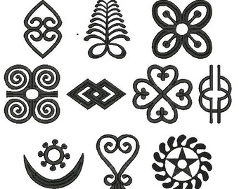 Collection Machine Embroidery Designs Instant Download - African Adinkra Pack 3