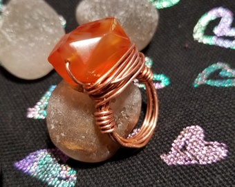 Orange Dyed Agate Copper Wire Wrapped Ring...