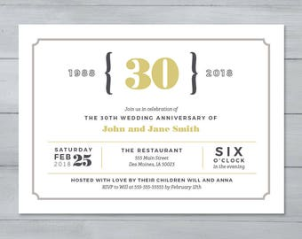 Anniversary Party Invitation     Wedding Anniversary Party Invitation     Anniversary Invite     30th Anniverary Invitation