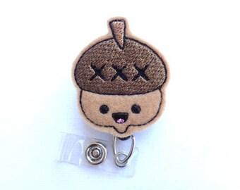 SALE - Retractable badge holder - Kawaii Acorn - tan felt badge reel - nurse badge reel medical staff - woodland student nurse