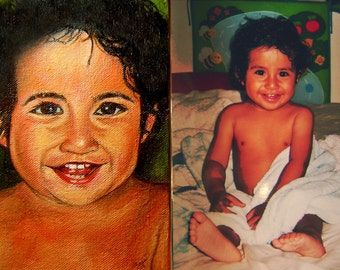 Commission child portrait hand painted from your  photo (Oil on canvas Painting)