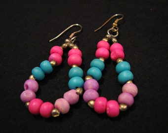 Vintage Blue Pink and Purple Wooden Beaded Dangle Pierced Earrings