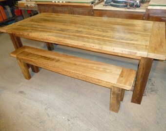Barnwood Farmhouse Table with Matching Bench