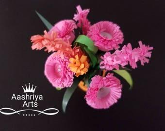 Quilled flower pot miniature by Aashriya Arts