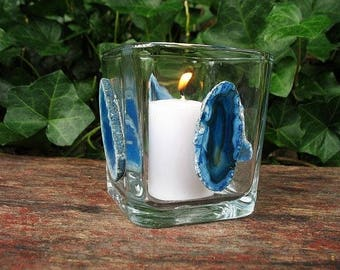 Blue agate slice candle holder, votive candle holder, square glass candle holder, agate candleholder