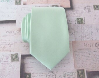 Dusty Mint Necktie With *FREE* Matching Pocket Square JCrew Inspired Dusty Shale Green Narrow Tie With Matching Pocket Square Set