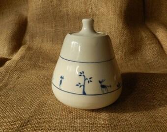 Lidded Porcelain Jar with Naive Creature Design