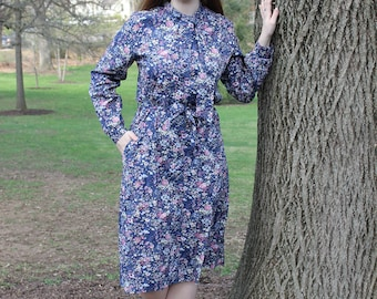 Long Sleeved Floral Vintage Housewife Dress with Tie Neck and Belt