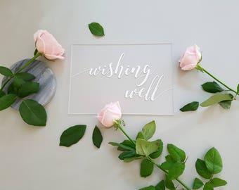 Wishing Well Sign, Guestbook Table, Acrylic Wedding Sign, Cards and Wishes, Cards and Gifts