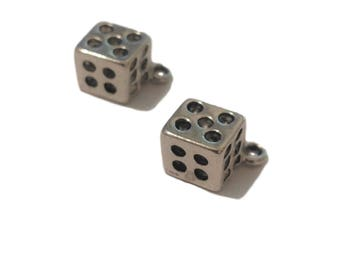 2 Dice Charms | Silver Dice Charms | Gambler Charm | Las Vegas Charm | Dice Charm Pendant | Lucky Charm | Ready to Ship USA | AS238-2