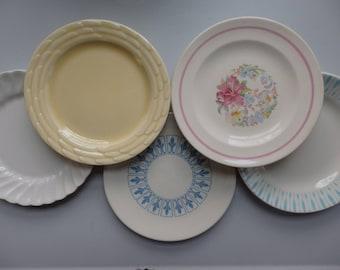 Mismatched Dessert Plates, Set of 5, Retro Cake Plates, Vintage Bread Plates