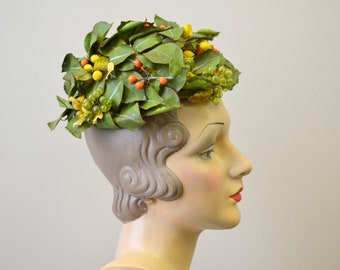 1950s Gladys and Belle Leaf and Fruit Hat